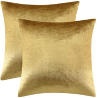 GIGIZAZA Gold Velvet Decorative Throw Pillow Covers,18x18 Pillow Covers for Couch Sofa Bed 2 Pack Soft Cushion Covers (Gold, 18 x 18- Set of 2)