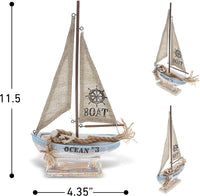 CoTa Global Coastal Horizon Wood Sailboat Model Nautical Decor 14.1 Inch, Wooden Rustic Coastal Decor Boat Ornament, Table & Shelf Boat Beach Decorations for Home, Ocean Theme Party Boat Centerpiece