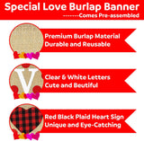 Love Burlap Banner | Valentine's Day Decorations | Valentines Burlap Banner | Black Red Plaid Love Banner | Valentines Decorations | Anniversary Wedding Engagement Party Decorations