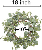VGIA Green Leaf Eucalyptus Wreath for Festival Celebration Front Door/Wall/Fireplace Laurel/Eucalyptus Hanger Home Relaxed Decor