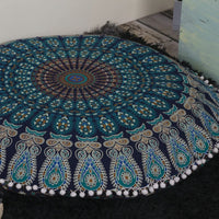 "Popular Handicrafts Kp834 Large Hippie Mandala Floor Pillow Cover - Cushion Cover - Pouf Cover Round Bohemian Yoga Decor Floor Cushion Case- 32"" Blue Tarqouish"