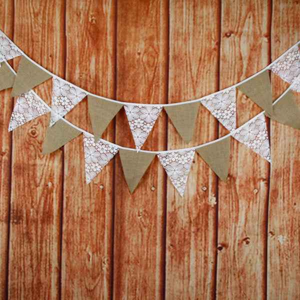 10.5 Feet Lace Burlap Triangle Banner, DIY Decoration for Wedding, Baby Shower and Party, 12 Flags, Pack of 1 (Flower&Lace&Linen)
