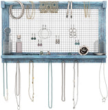 Rustic Jewelry Organizer – Wall Mounted Jewelry Holder with Removable Bracelet Rod, Shelf and 16 Hooks – Perfect Earrings, Necklaces and Bracelets Holder – Vintage Jewelry Display – Rustic Blue