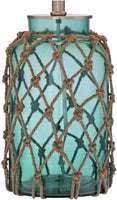 Crosby Nautical Accent Table Lamp Coastal Blue Green Glass Rope Net Off White Drum Shade for Living Room Family Bedroom - 360 Lighting