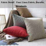 Home Brilliant Spring Decor Lined Linen Burlap Square Throw Pillow Covers Decorative Pillowcase Cushion Cover for Couch, 18 x 18 inch, 45cm, Natural Linen