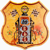 HANTAJANSS Route 66 Signs, Vintage Metal Shop Sign, U.S. 66 High Way Road Tin Sign for Home & Garage Wall Decoration 12× 12 Inches