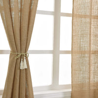 "BalsaCircle 52"" x 64-Inch Natural Burlap Window Drapes Curtains 2 Panels - Home Decor Party Decorations"