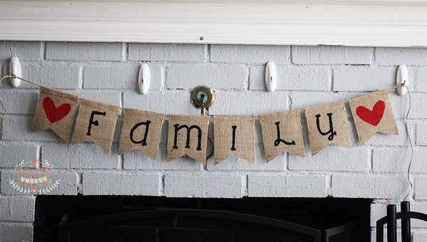 Family, Burlap Banner, Home Decoration, Holiday Photos