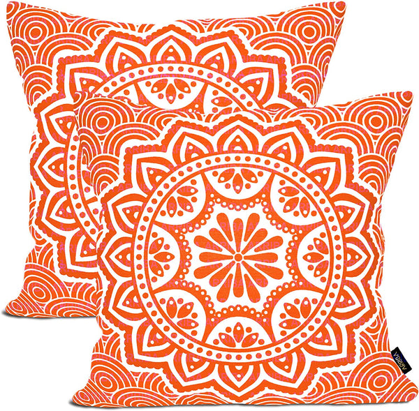 ARRIBA, Boho Floral Mandala Pattern, (Pack of 2 Pcs_16x16 Inches or 40x40 Cms_Orange & White), Double Side Printed Decorative 100% Cotton Accent Canvas Throw Pillow Cases-Cushions Covers.
