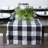 "DII Cotton Buffalo Check Table Runner for Family Dinners or Gatherings, Indoor or Outdoor Parties, & Everyday Use (14x72"", Seats 4-6 People), Black & White"