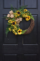 Boxwood and Sunflower Grapevine Wreath for Summer Spring Farmhouse Front Door Decor
