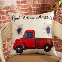 "Fjfz 4th of July Decor God Bless America Vintage Red Truck Sign Patriotic Quote Decoration Cotton Linen Home Decorative Throw Pillow Case Cushion Cover for Sofa Couch, 18"" x18"""