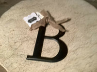 Black Tin Initial by Mud Pie, Initial B WITH BURLAP BOW NEW NWT