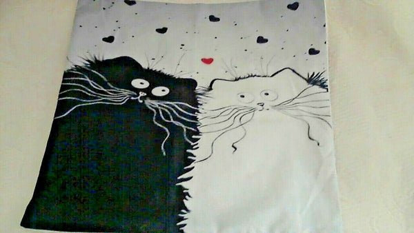 "Whimsey Black/White Cat Pillow Cover 17"" x 17"" Zipper Open Burlap Style Fabric"