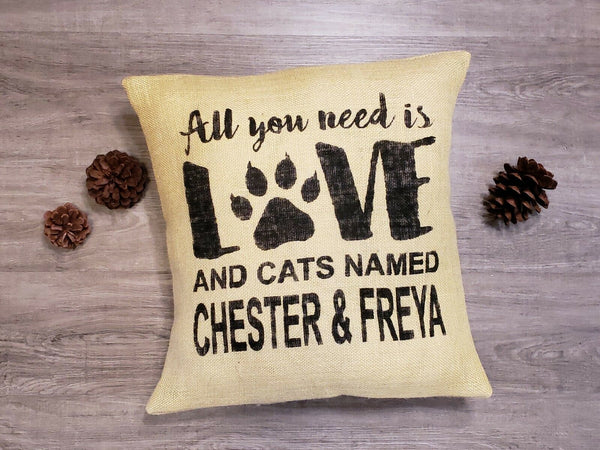 Personalized yellow burlap All you need is cats (or custom color) pillow cover