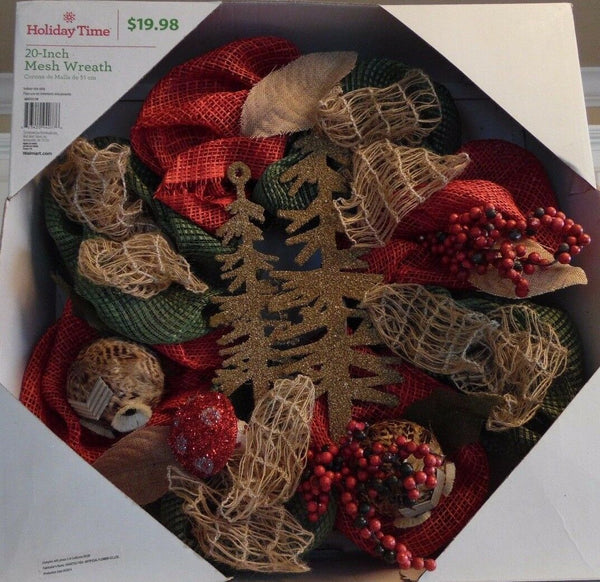 Burlap Jute Feather Balls Christmas Wreath with Trees Red Berries Decoration
