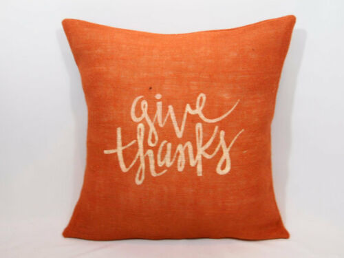 Custom burlap Give thanks Burnt Orange/Ivory (or custom color) pillow cover