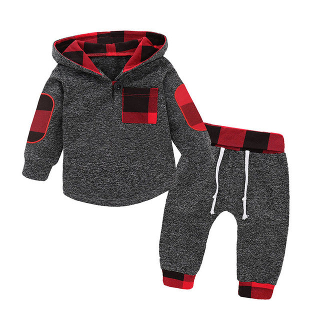 Red Plaid Pullover Set