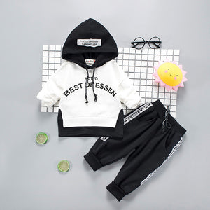 Black and White Hoodie Sweatsuit