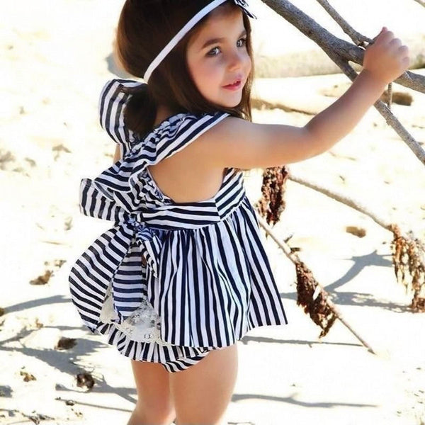 Arabella Striped Ruffle Dress l  4-24M