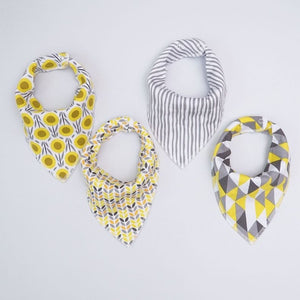 Yellow and Gray Shapes Dribble Bib