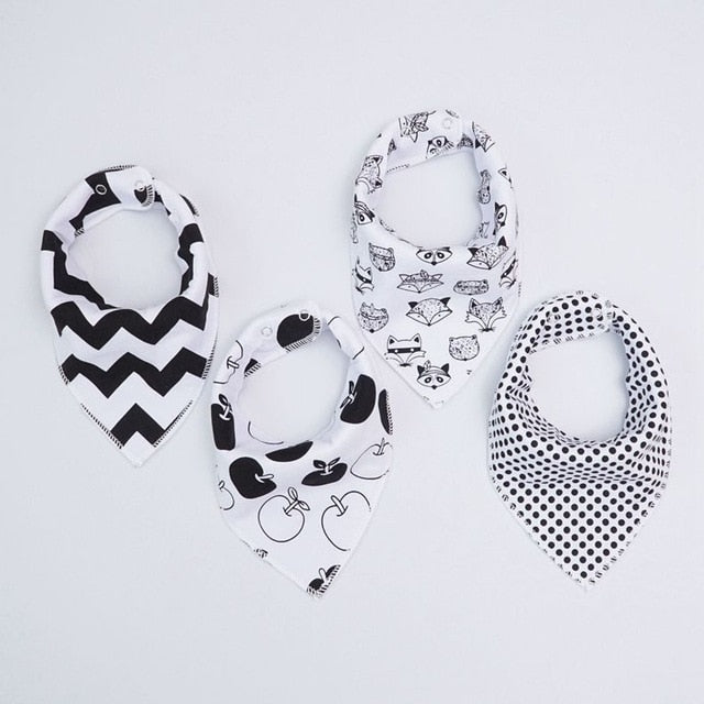 Black and White Chevron Dribble Bib Set
