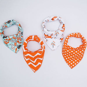 Orange Chevron and Polka Dot Dribble Bib Set