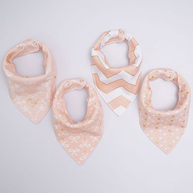 Pink and Gold Chevron Dribble Bib Set