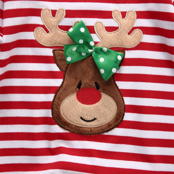 Striped Baby Deer Christmas Pajamas | 3-18M