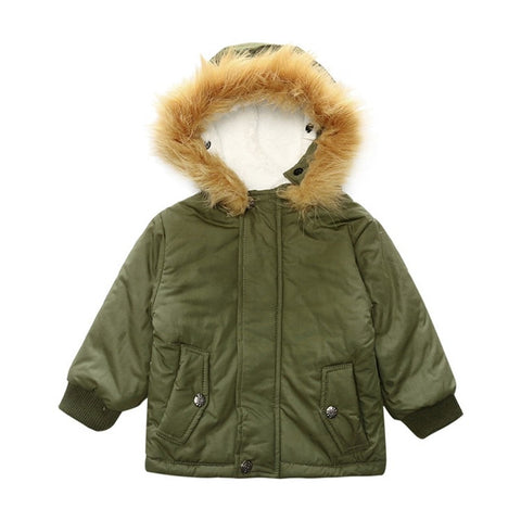 Forest Green Hooded Faux Fur Hood Jacket | Joey