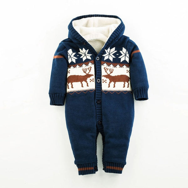 Long Sleeve Reindeer Printed Jumpsuit