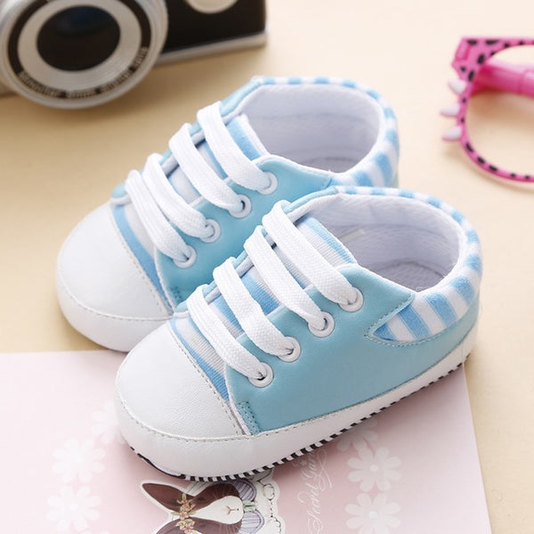 Baby Blue Striped Sneakers |  0-18M