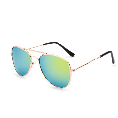 Infant Aviator Mirror Sunglasses-Blue and Green with Gold Rim l 6-18M