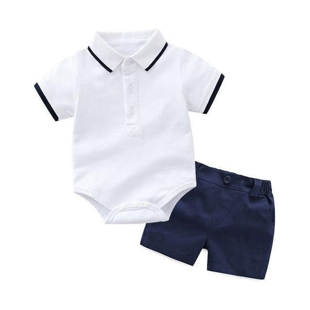 Little Gentleman | Striped Collar Bodysuit With Shorts