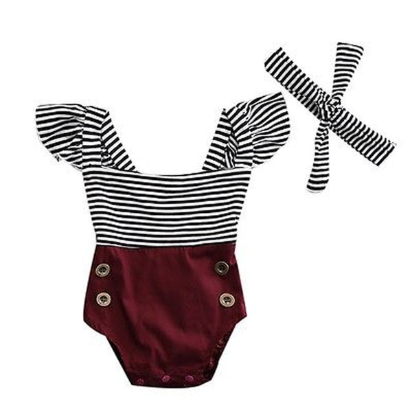 Newborn Toddler Baby Girl Striped Romper Bodysuit+Headband Sunsuit Outfit Set