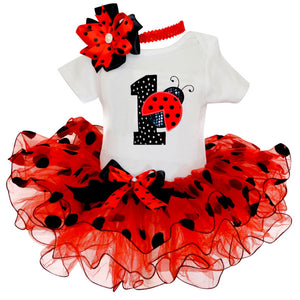 Lady Bug Birthday Cake Smash 1st Outfit Tutu