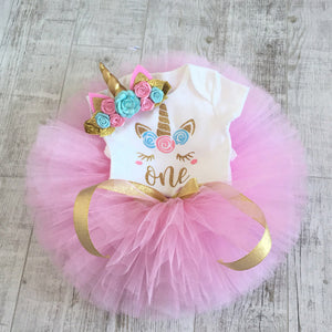 First Birthday Outfit Girl, One Birthday Shirt, Cake Smash, 1st Birthday Girl Outfit, One Year Old Girl Birthday Outfit, unicorncakesmash