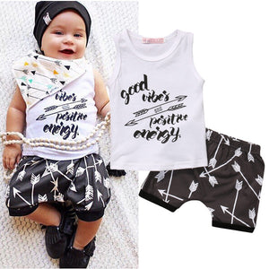 Toddler Cotton Unisex Baby Boys Clothes Short SleeveT-Shirt Set Outfit positive vibes short set