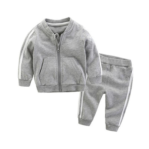 "Baby Grey ""Adidas"" Inspired Tracksuit l 3-24M"