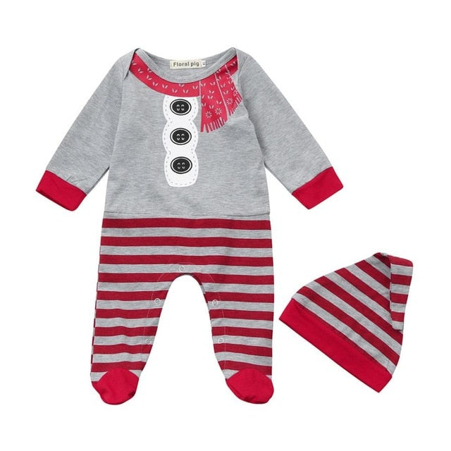 Baby Snowman Jumpsuit with Cap