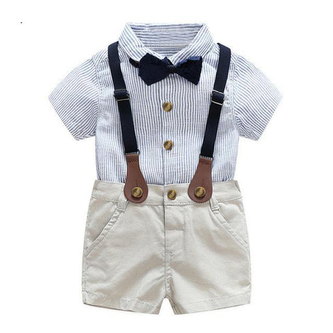 Little Gentleman | Striped Button Up and Khaki Short Set