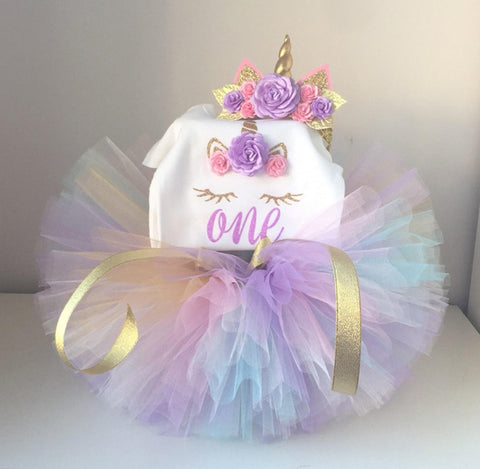 My First Birthday |  Rainbow Unicorn Tutu Set