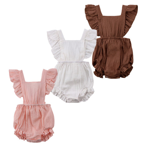 Baby Girl Solid Color Ruffles Romper | 6-24M
