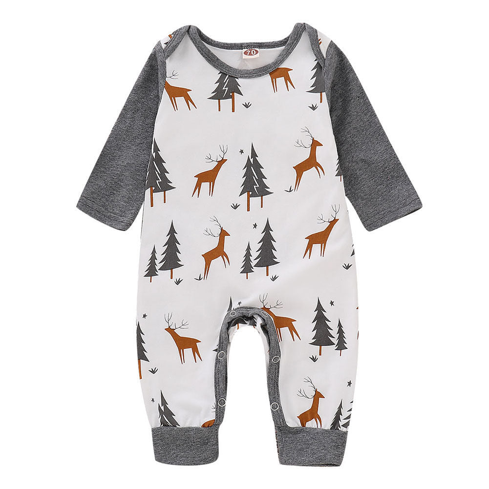 White and Grey Tree and Deer Romper