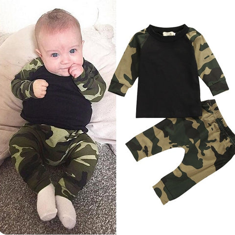 Long Sleeve Camouflage shirt and Pants Set | 0-18M
