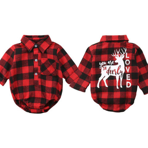 You are Deerly Loved Plaid onesie
