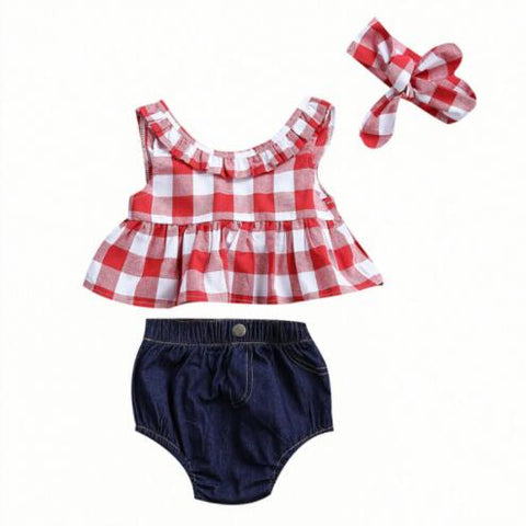 Baby Girls Plaid Ruffle Bowknot Tank Top+Denim Shorts Outfit with Headband Baby Girl Cow Girl Outfit