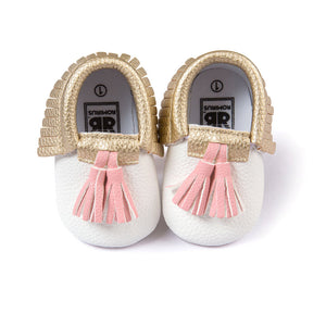 Gold and Pink Tassled Moccasins | Cardi