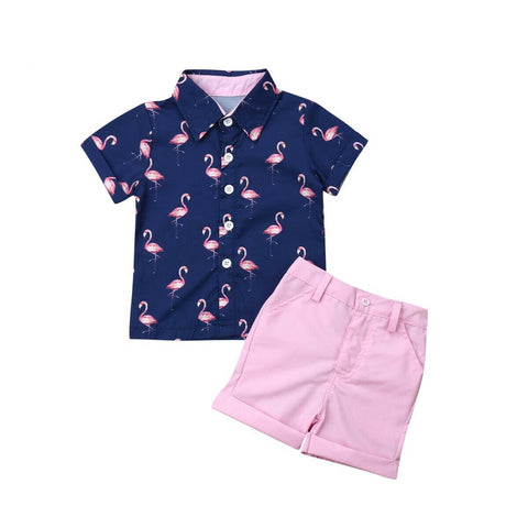Flamingo Boys Short Set | 12M