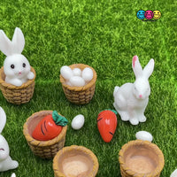 Baskets with Bunny and Bunch of Carrots Bunnies Charms Basket Cabochon